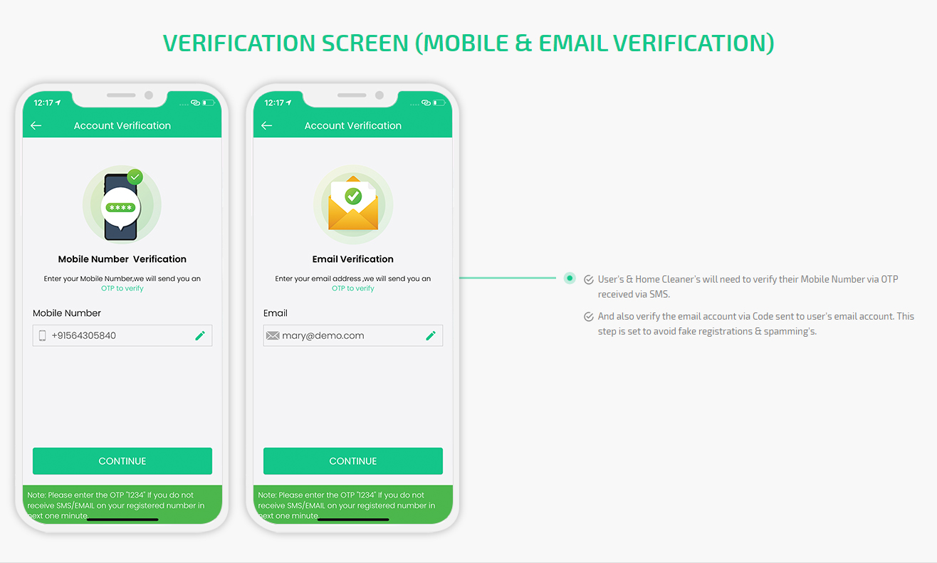 verifications screens