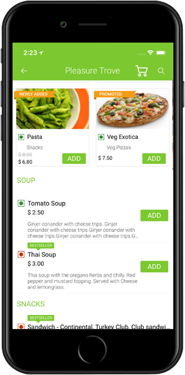 food delivery iPhone app