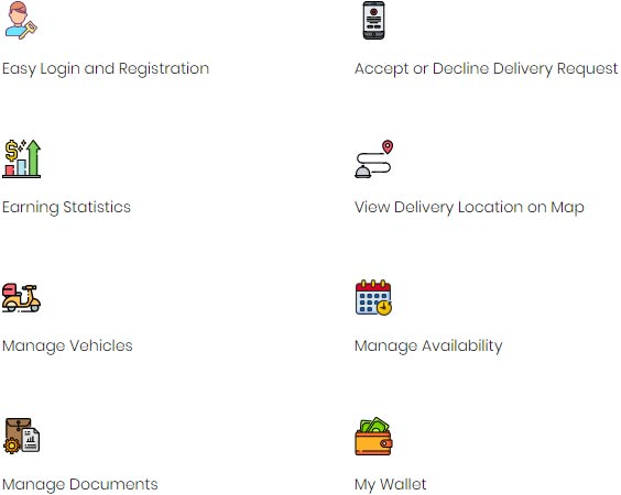 Driver Application features