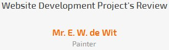 Mr. E. W. de Wit review