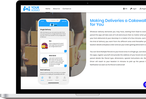on demand delivery app web panel screen